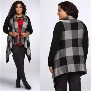 TORRID Plaid Drape Front Cardigan Sweater Black